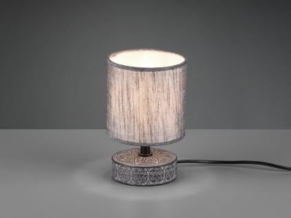 Keramik Tischleuchte in Grau mit Stoffschirm für die Fensterbank Nachttischlampe