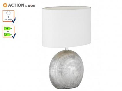 Tischleuchte LEGEND, H. 37cm, silber/weiß, Keramik & Stoff, E14, Tischlampen