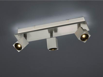 LED Deckenbalken 3fl. mit indirekter Beleuchtung in Nickel matt Spots schwenkbar