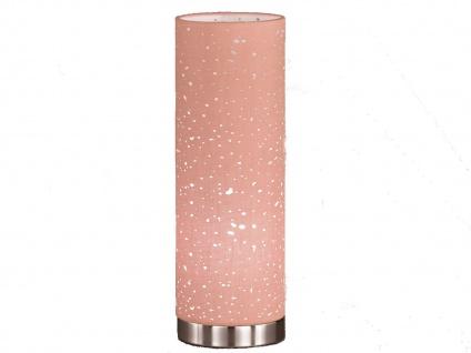 Kleine Tischlampe E14 chrom mit Lampenschirm Stoff pink, Nachttischlampe Design - Vorschau 2