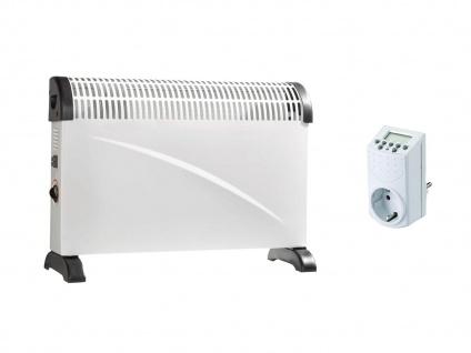 2000W Elektroheizung Heizgerät Konvektor mit 3 Stufen, Thermostat, Zeitschaltuhr