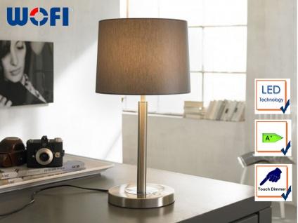 Wofi LED Tischleuchte TOULOUSE, Touchdimmer, Stoffschirm braun, Nachttischlampe