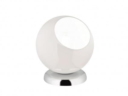 Moderne Tischleuchte rund mit Glasschirm weiß Ø20cm, Höhe 22cm - Nachttischlampe - Vorschau 2