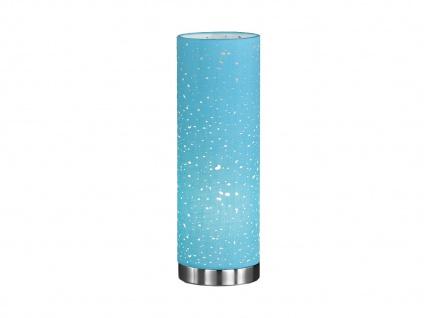 Kleine LED Tischlampe chrom mit Lampenschirm Stoff blau, Nachttischlampe Design