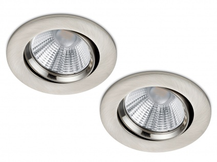 2 runde LED Einbaustrahler Decke Ø 8, 5cm schwenkbar dimmbar Nickel matt 5, 5W