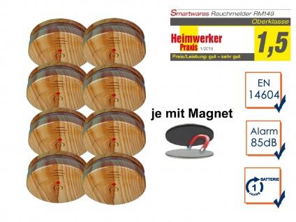 8er SET Rauchmelder Holzoptik mit EASY Magnethalterung, Feuermelder Feueralarm