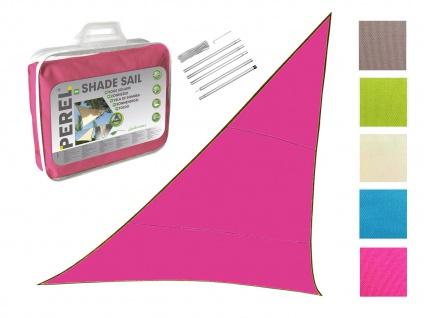 Sonnensegel Dreieck Pink 5m mit Stangenset für den Garten UV Sonnenschutzsegel