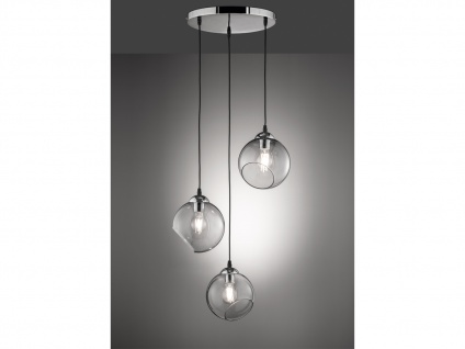 Design Pendelleuchte Kugellampe Rauchglas 3 flammig für Esstisch Kochinsel Küche