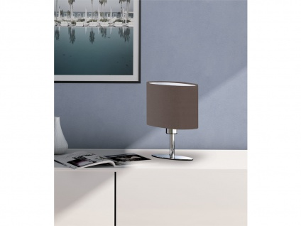 Designklassiker: Schöne LED Tischlampe Silber mit Lampenschirm oval Stoff Braun - Vorschau 4