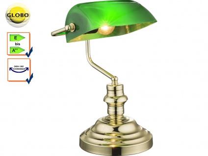 Globo Tischlampe ANTIQUE, Bankerlamp Acrylglas grün, Retro Vintage Tischleuchte