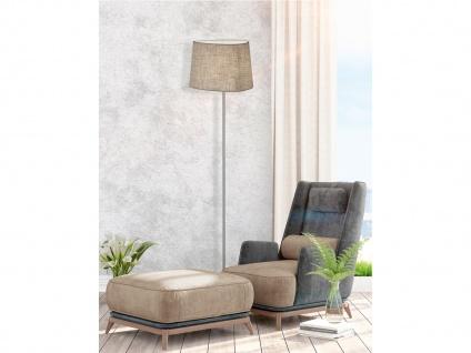 LED Standlampe mit Stoff Lampenschirm - Standleuchte Stoffschirm für Wohnzimmer