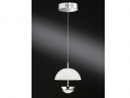 LED Pendelleuchte Chrom Acrylglas Crush-Optik Ø 21, 5cm Wohnraumleuchte Esstisch - Vorschau 4