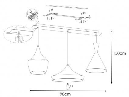 Vintage LED Pendelleuchte mit 3 Metall Schirmen in Braun - Design Esstischlampen - Vorschau 4