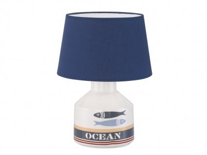 Maritime Tischleuchte mit blauem Stoffschirm, Keramikfuß weiß Fische, Flurlampe