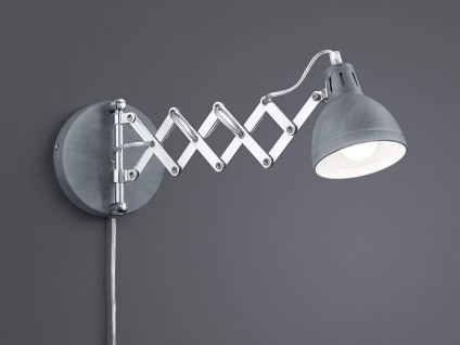 Retro LED Wandleuchte mit Scherengelenk und rundem Metall Lampenschirm in Grau