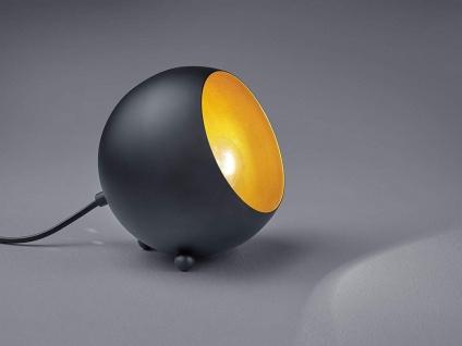 Kleine Tischleuchte rund aus Metall, Lampenschirm in Schwarz matt & innen Gold