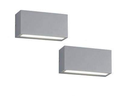 Up- & Downbeleuchtung - LED Wandleuchten 2er SET, titanfarbiges Aluminium, IP65