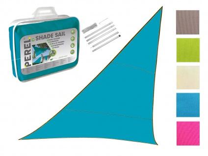 Sonnensegel Dreieck Blau 5m mit Stangenset für den Garten UV Sonnenschutzsegel