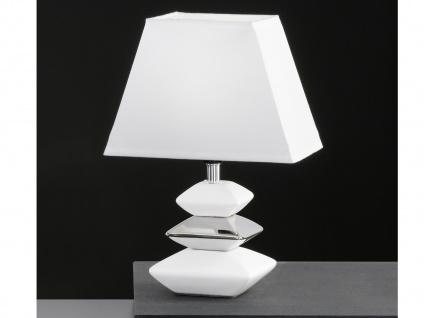 Tischleuchte, Chrom, weiße Keramik, Stoffschirm, Honsel-Leuchten, SOPHIE