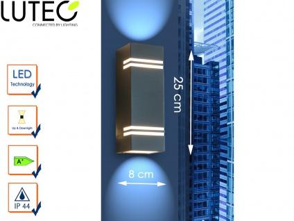Edelstahl LED Außenwandleuchte H. 25cm IP44 Up & Downlight Fassadenbeleuchtung