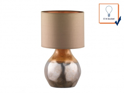 Dekorative Honsel Keramik Tischleuchte 46cm Braun mit Design Lampenschirm Textil - Vorschau 3