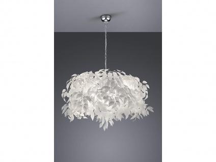 Ausgefallene LED Pendelleuchte Lampenschirm Ø70cm weiße Blätter in Federnoptik
