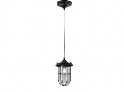 LED Hängelampe schwarz Lampenschirm Glas 14, 5cm, Retro Pendelleuchte Vintage - Vorschau 2