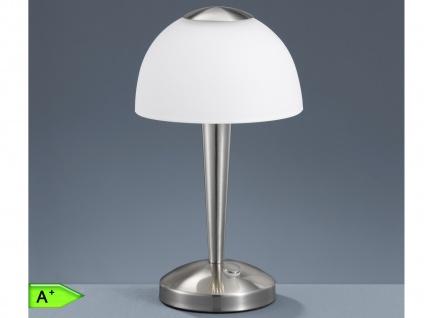 LED-TOUCH-Tischleuchte, 1x5W, 4-Fach Touchfunktion, Nickel, Glas weiß