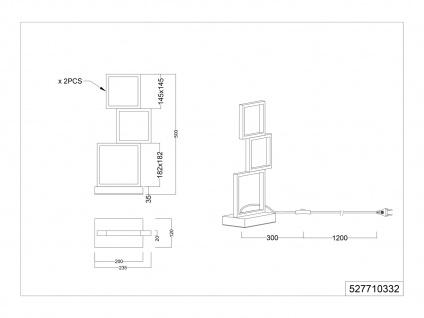 Moderner Fensterbank Tischleuchter, große Nachttischlampe für Jugendzimmer eckig - Vorschau 5