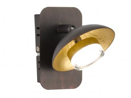 Klassische LED Wandleuchte Braun / Gold Spot schwenkbar 7, 2 Watt Wandbeleuchtung