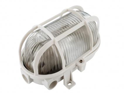 Ovale Kellerleuchte weiß mit Schutzgitter & LED Leuchtmittel 800 Lumen, dimmbar