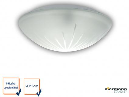 LED Deckenleuchte, Deckenschale rund, Schliffglas satiniert, Ø 20cm Küchenlampe