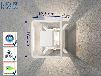 Eckige LED Außenwandleuchte Alu weiß IP54 3W Fassadenbeleuchtung Wegeleuchte