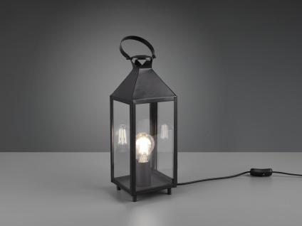 LED Tischleuchte Laterne schwarz Metall 13x13cm 46cm hoch für die Fensterbank