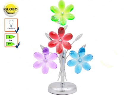 Globo Tischleuchte RAINBOW Chrom Acryl bunt, Tischlampe Design, Lampe Deko, E14