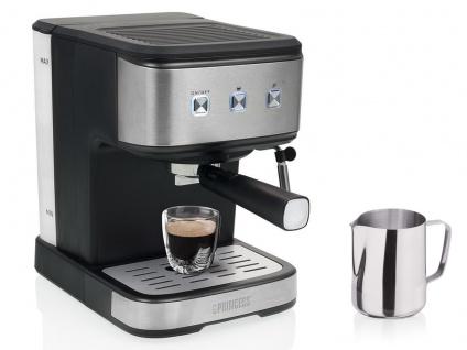 Siebträger Espresso & Kapselmaschine mit Milchaufschäumer für 1 oder 2 Tassen
