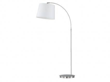 Honsel Stehlampe LUND mit LED, verstellbar, Stoff weiß, Stehleuchte Bogenlampe
