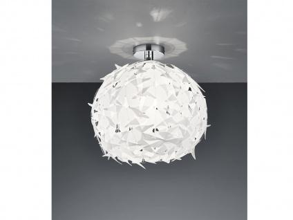 Florale Deckenleuchte für Esszimmer Ø44cm 1 flammig Chrom Weiß Blätterdesign