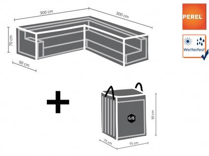Abdeckung 300x300cm für Garten Lounge Set L-förmig + Schutzhülle für 6-8 Kissen