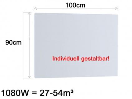 Vitalheizung Infrarotheizung Heizpaneel 1080W, 100x90 cm, Hochglanz weiß, IP44