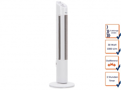 Turmventilator mit Timer Funktion oszillierend 3 Stufen 30W Säulenventilator
