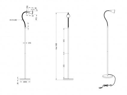 Ausgefallene Designer Stehlampe mit Schwanenhals 1 flammige Standleuchte Silber - Vorschau 4