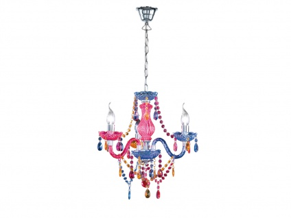 3 flammiger LED Kronleuchter Lüster klein Ø46cm mit buntem Acryl Kristall Behang - Vorschau 2