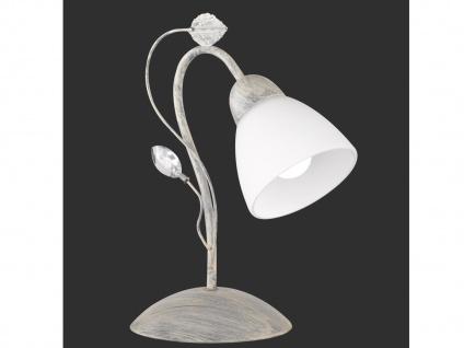 Antik Look LED Tischlampe im Florentiner Stil mit Blätter Motiv aus Metall Grau - Vorschau 2