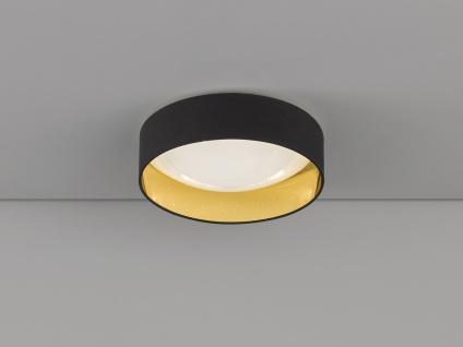 Dimmbare LED Sternenhimmel Deckenleuchte Ø40cm, Lampenschirm Stoff schwarz gold - Vorschau 1
