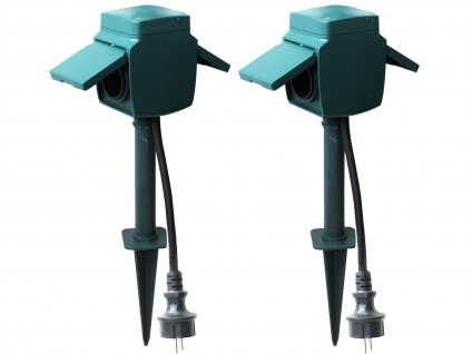2er-SET Gartensteckdosen 2-fach mit Erdspieß, IP44, Stromverteiler - Vorschau 2