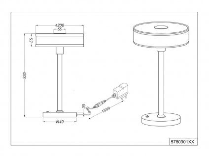 LED Tischleuchte dimmbar, Metall in Nickel matt Schirm aus Stoff & Acryl in weiß - Vorschau 5