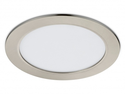 Runder LED Einbaustrahler Decke dimmbar Nickel matt 18W IP44 - Deckenbeleuchtung