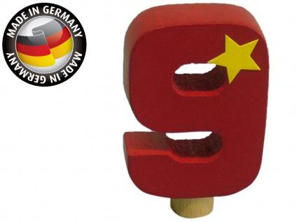 Geburtstagszahl 9 für Niermann Kerzenhalter, Holz, Happy Zahl Geburtstag Kinder