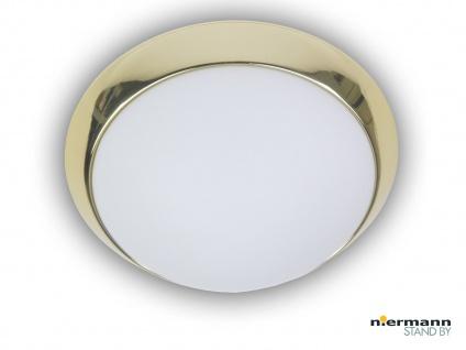 Deckenleuchte rund, Opalglas matt, Dekorring Messing poliert Ø 45cm, Bürolampe